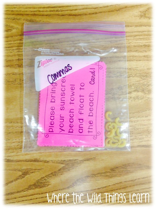 Fun idea to have students insert commas using macaroni noodles! Pin it to Win It--Word Work Games