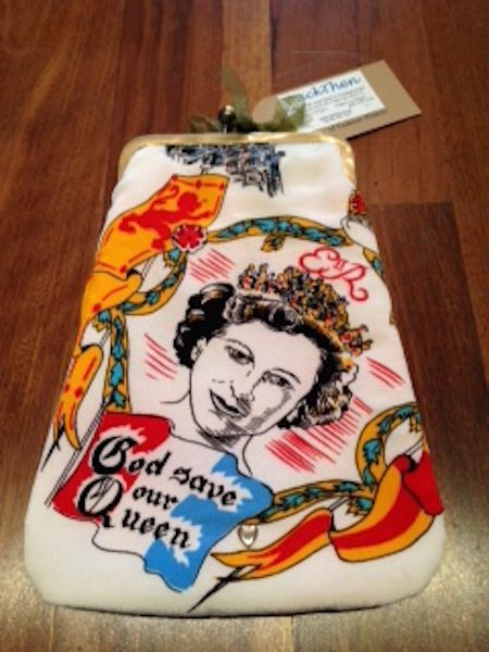 Totally unique bag from BackThen. Made from a rare 1950s silk scarf it features the young Queen Elizabeth ll on the front with Prince Andrew and Princess Ann on the bag. www.artefice.co.uk
