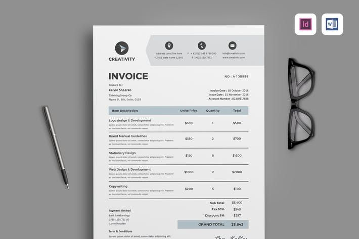 Invoice By Leaflove On Envato Elements Business Stationery Graphic Design Templates Invoicing