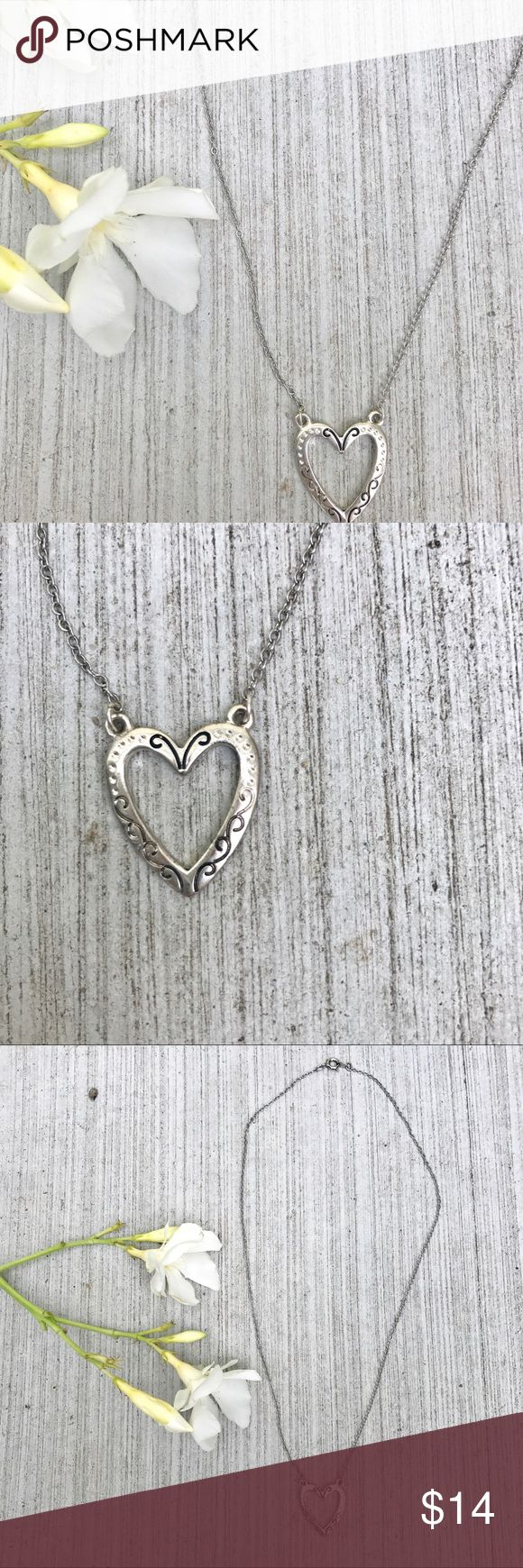 """🎈4/$25 silver HEART NECKLACE charm chain love New! Cute open heart necklace with carved curly cues detail. Silver tone. End to end measures 18"""". Delicate pendant, great for a young loved one at heart. j11 Jewelry Necklaces"""