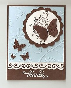 Bliss, Beautiful Wings embosslits, and Cuttlebug Stylized Flowers embossing folder. Nice color scheme.