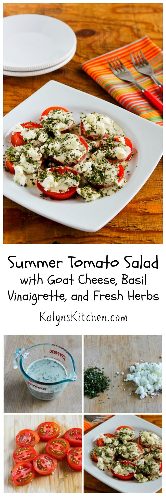 As soon as good summer tomatoes show up I start making this Summer Tomato Salad with Goat Cheese, Basil Vinaigrette, and Fresh Herbs, and I make it all summer long for holiday parties and pot-lucks.  I'd have a hard time picking my very favorite tomato salad, but this is definitely close to the top of the list! #Summer #Tomatoes #Basil [from KalynsKitchen.com]