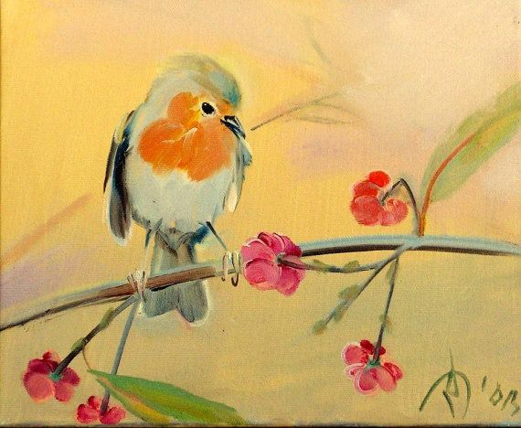 Bird on a branch Oil painting on canvas Little by ARTbyRumbetix
