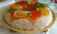 King cake - with a bean and a little figurine inside.