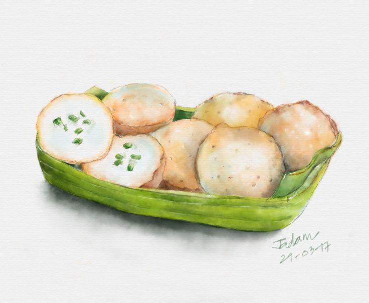 """Kano Krok""  Kind of Thai dessert. #digitalart #watercolor #painting"