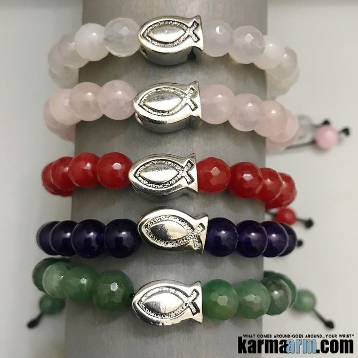 "#BEADED #Yoga #BRACELETS  ♛ The #Jeus #Fish symbol is also known as an #Ichthys (coming from the ancient Greek word for fish). IXИYУ is an acronym coming from the first letter of words that mean ""Jesus Christ God's Son is Savior."" #Jade #Quartz #Chakra #gifts #Stretch #Womens #jewelry #Eckhart #Tolle #Crystals #Energy #gifts #Handmade #Healing #Kundalini #Law #Attraction #LOA #Love #Mala #Meditation #prayer #Reiki #mindfulness #wisdom #Fashion #birthday #Spiritual"