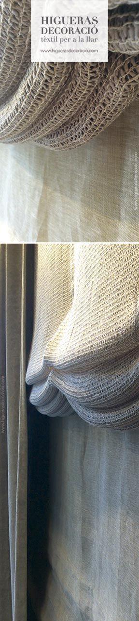 #Doble cortina. #Estor de paqueto sin varillas confeccionado con una tejido casual. #Cortina lisa con gran caída. #Doble Cortina. #Estor paqueto sense varetes confeccionat amb un teixit casual. #Cortina llisa amb gran caiguda. http://www.higuerasdecoracio.com