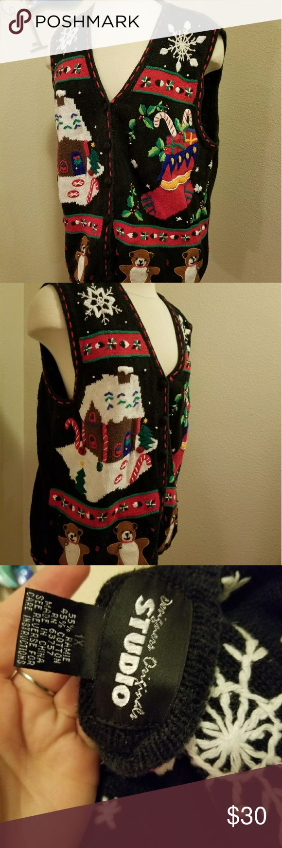 Ugly Christmas sweater vest embroidered size 1x Awesome ugly Christmas sweater vest, cardigan. Ginger bread house, bears and stockings adorn this awesome sweater. Sized 1x. And is stretchy could be worn as size large baggy or used for 1x. Sweater is used Nd has some minor pulling. Could be removed with sweater shaver. Studio Sweaters Cardigans