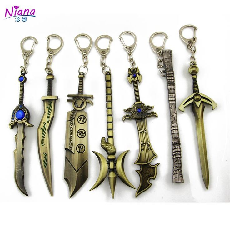NIANA 12CM Creative style weapon key chains for men, game keychain LOL hero alliance logo key ring metal crafts military jewelry