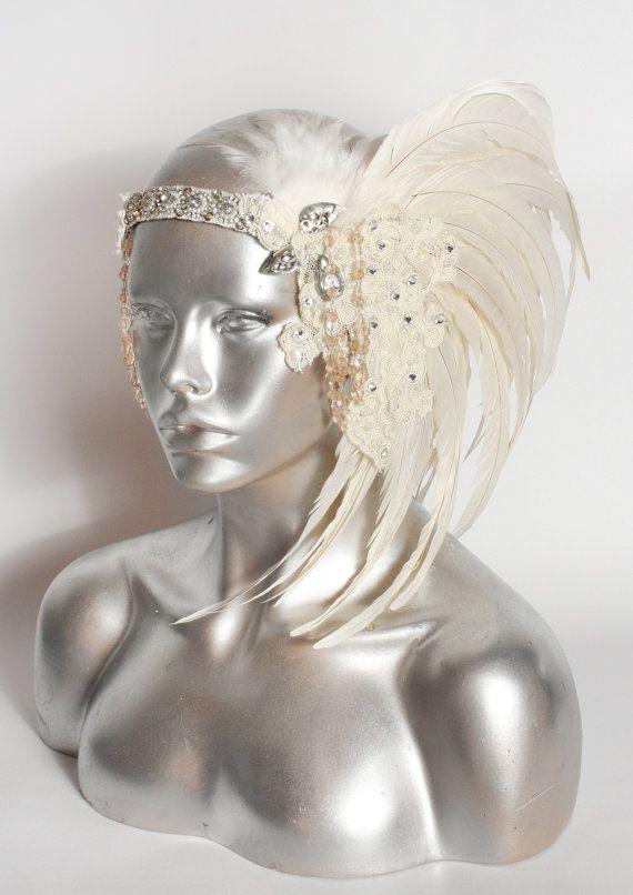 White Feather Headdress Bridal Swarovski by StraightLacedSF, $120.00