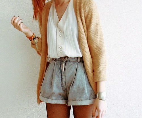 Oversized Denim Shorts: Cardigans, Style, Clothing, Cute Outfits, Summer Outfits, White Blouses, Jeans Shorts, Denim Shorts, High Waist Shorts