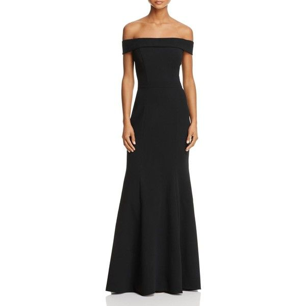 Avery G Off-the-Shoulder Gown ($275) ❤ liked on Polyvore featuring dresses, gowns, black, off shoulder dress, fit and flare evening dresses, off shoulder evening gown, draped dress and off the shoulder evening dress