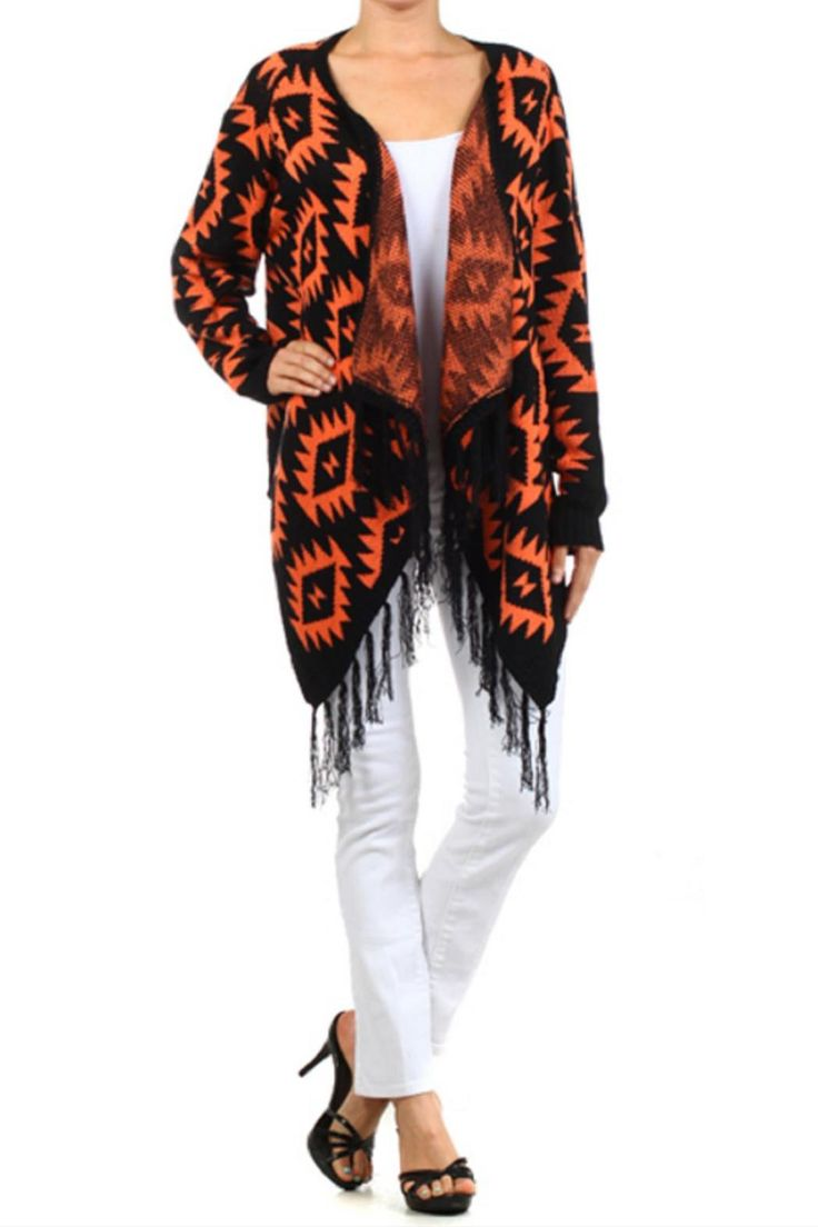 Keep warm by throwing this Aztec print cardigan over any outfit. One size fits most. Machine wash cold.   Aztec Fringe Sweater by Blvd. Clothing - Sweaters - Cardigans Clothing - Tops - Long Sleeve Kansas