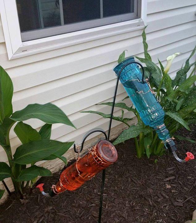 Home made humming bird feeders