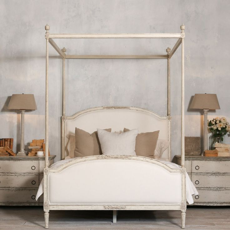 Eloquence® Dauphine Canopy Bed with elegant fluted canopy frame. Hand-finished in our distressed Weathered White and upholstered in White Linen. & 22 best Four Poster u0026 Canopy Beds images on Pinterest | Poster ...