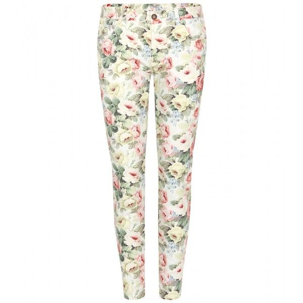 Miu Miu Floral-Print Skinny Jeans found on Polyvore