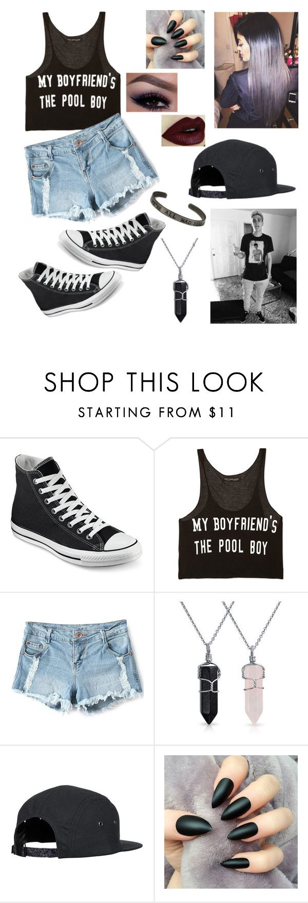 """""""sammys my pool boy"""" by raevanmilligan22 ❤ liked on Polyvore featuring Converse, Forever 21, Bling Jewelry, women's clothing, women's fashion, women, female, woman, misses and juniors"""