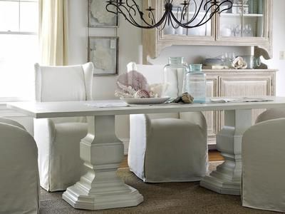 I love this table but with colored chairs: Decor, Dining Rooms, Shabby Chic, Pedestal Killington, Double Pedestal, Diningroom, Home Idea, Dining Tables