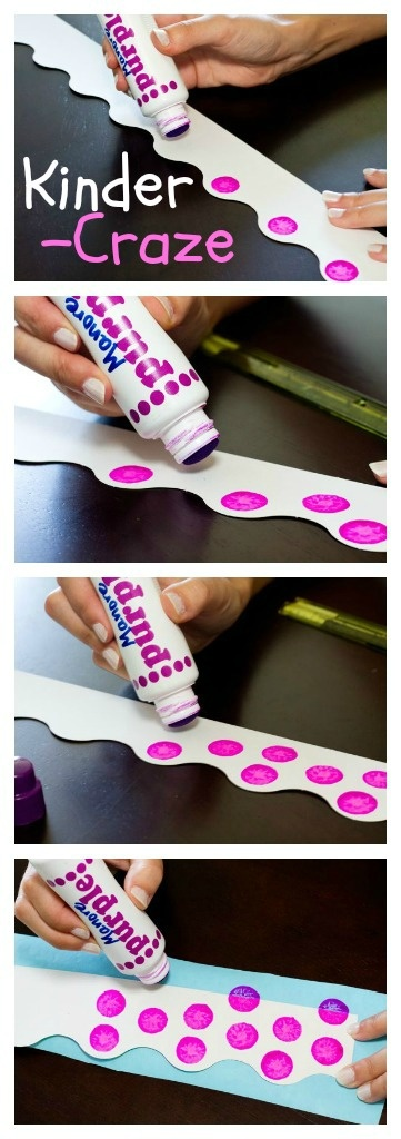 Step by Step directions for creating polka dot bulletin board borders