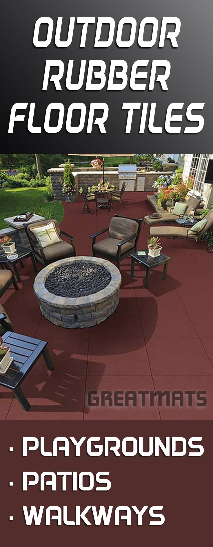 Find outdoor rubber floor tiles for playgrounds, patios and walkways at Greatmats.