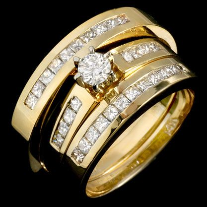 three piece wedding trio set 14k yellow gold 105 cts jrx 29200 129999 - Wedding Ring Trio Sets