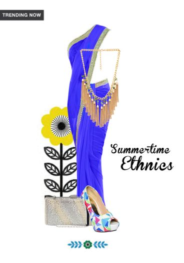 'Summertime Ethnics' by me on Limeroad featuring Gold Necklaces, Blue Sarees with Gold Clutches