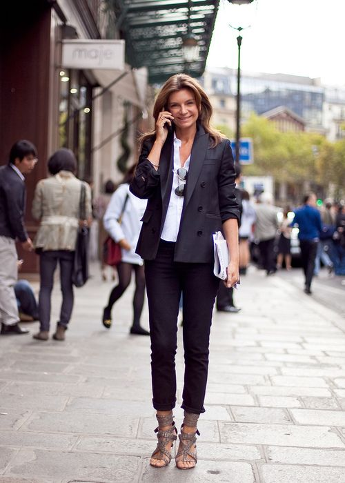 jeans, dbl-breasted tux jacket & strappy sandals.