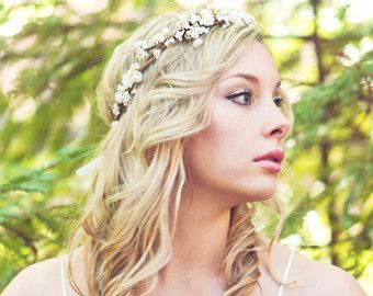 wedding accessories, bridal headpiece, wedding flower crown, ivory Flower crown,…