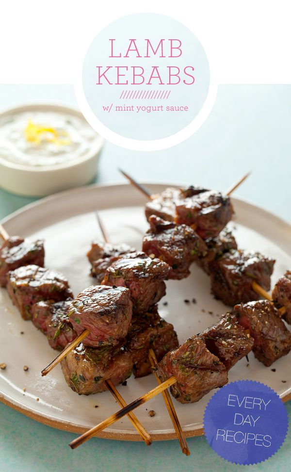 Lamb Kabobs. Herb marinated cubes of lamb, skewered and grilled and served alongside a sweet honey and mint yogurt sauce.