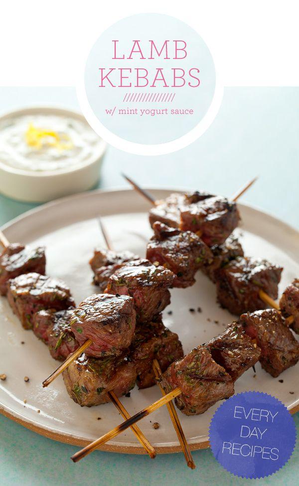 Lamb Kebabs. From: http://spoonforkbacon.com/2011/06/lamb-kebabs-with-a-mint-yogurt-sauce/