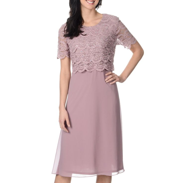 R & M Richards presents this chic 2fer dress with a sequined lace bodice with scalloped trim. The sheer overlay skirt adds an airy, feminine charm to this short-sleeve dress.
