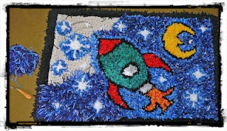 Space rocket hooked rug for Taylor Smith (My lovely little godson)