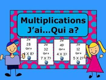 Jeu très plaisant pour apprendre les multiplications. Il y a 32 cartes au et une feuille de contrôle. (total de 9 pages)
