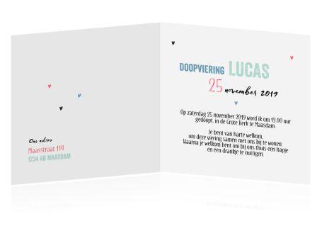 Een hip design met een foto van jullie kleintje en mooie typografie: leuke persoonlijke uitnodiging voor het doopsel.