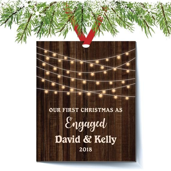Personalized Engagement Christmas Ornament Rustic Farmhouse Christm Newlywed Christmas Ornament Engagement Christmas Ornament Personalized Christmas Ornaments