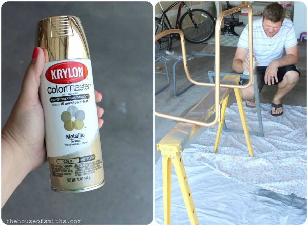 how to spray paint metal furniture gold home painting