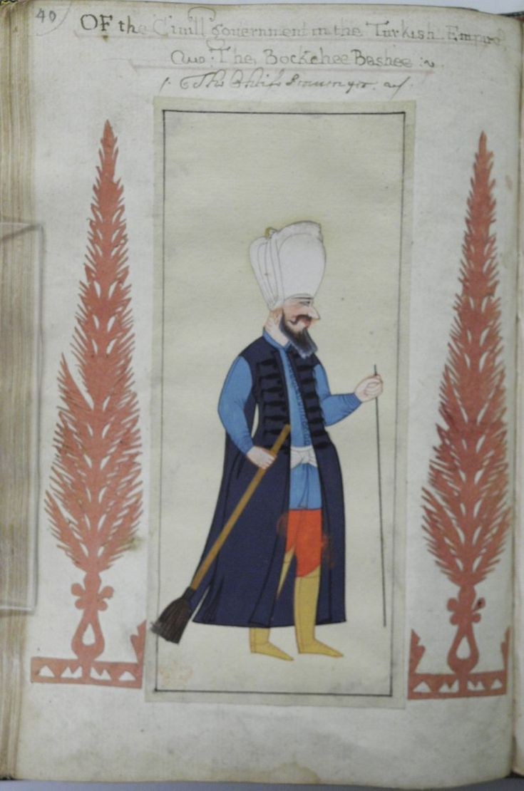 "Bokcu basi, overseer of the scavengers or sweepers, in ""A briefe relation of the Turckes, their kings, Emperors, or Grandsigneurs, their conquests, religion, customes, habbits, etc"", 1618, Otoman dynasty"