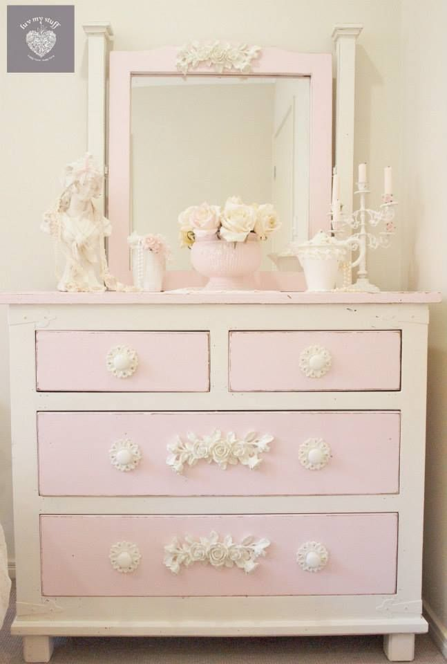 Quenalbertini Shabby Romantic Pink And Cream Dresser