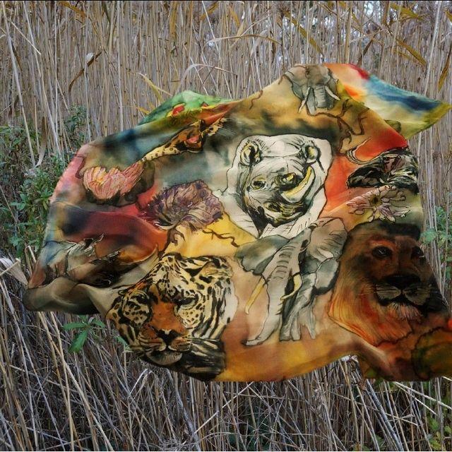 Africas big 5 Luxury hand painted silk scarf. #caritakdesign #caritaholmbergdesign #luxurysilkscarf #art #wearableart #big5 #bigfive #rhino #elephant #lion #buffalo #leopard #caraffskeppudden