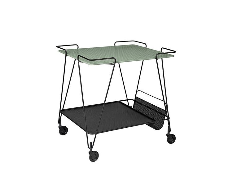 GUBI // Matégot trolley in dusty green by Mathieu Matégot