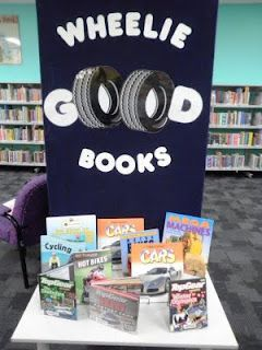 For the Children's Room to highlight fiction and nonfiction books about cars, trucks or anything else with wheels!!