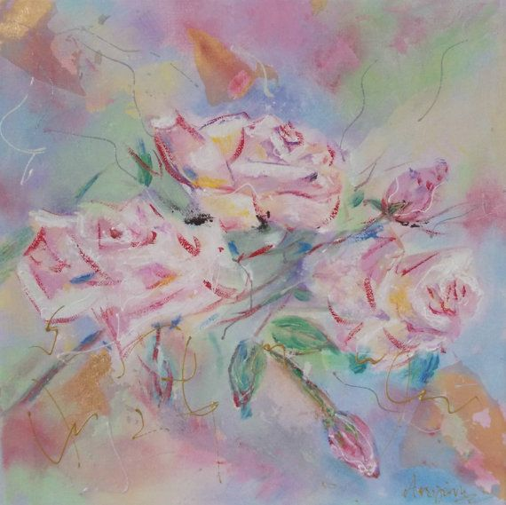 Small Original flower paintingroses by AntigoniArtGallery on Etsy