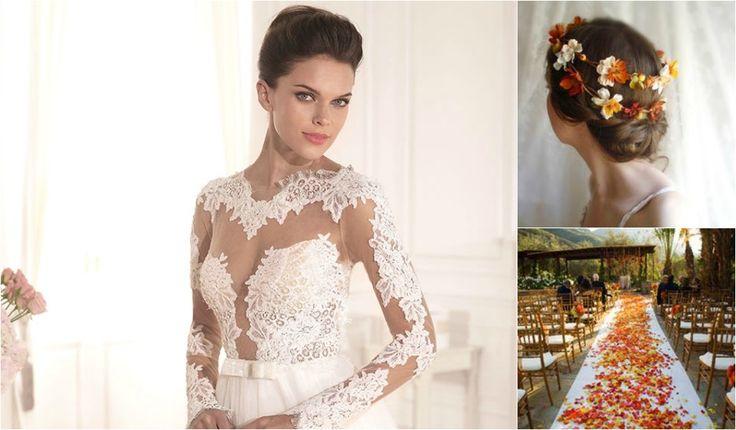 Rochia de mireasa de toamna poate avea manecute, accesoriile pentru o mireasa de toamna sunt boeme si intreaga nunta o frenezie de culori. Vezi articolul!