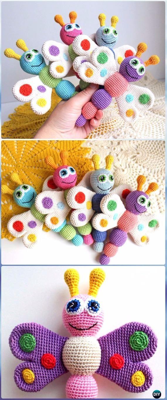 Crochet Baby Rattle Butterfly Free Pattern - Crochet Butterfly Free Patterns [Picture Instructions]