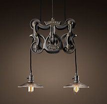 Cast-Iron Barn Door Trolley Pendant  Restoration Hardware