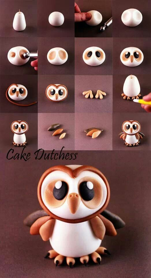 Little Barn Owl Picture Tutorial || Can be made with fondant or clay. Its a brilliant thing the two are so interchangeable when it comes to creating.