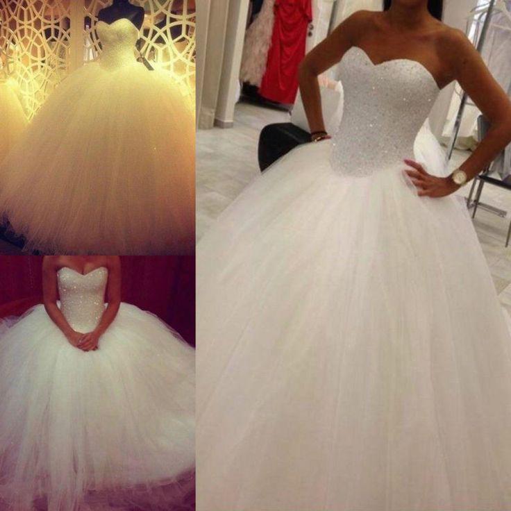 New White / Ivory Wedding Dress Bridal Gown Custom Size 6-8-10-12-14-16