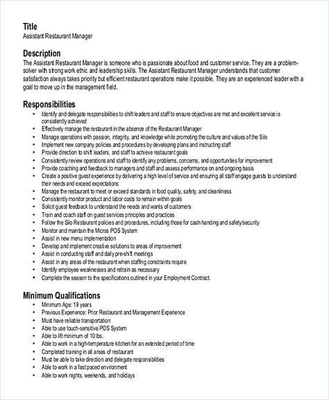 Assistant Restaurant Manager Resume Create A Better Samples Pdf And Docx Format Right Now