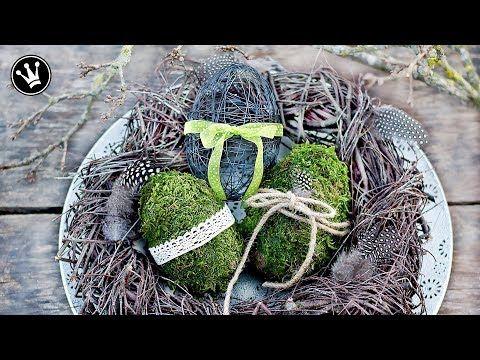 DIY - Frühlingssdeko selber machen | Osterdeko | Eier aus Moos und Draht | Kranz aus Zweigen - YouTube