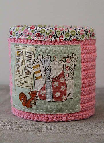 crochet inspiration~ crochet and fabric duo Super Cute!
